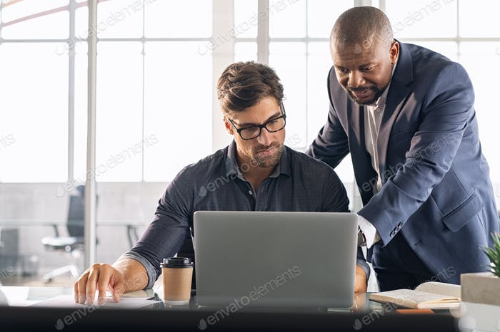 Leadership working with his employee
