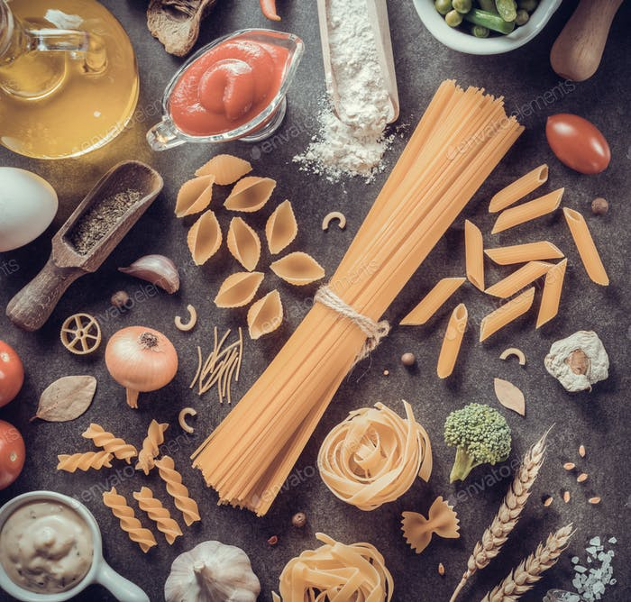 pasta and food ingredient on table