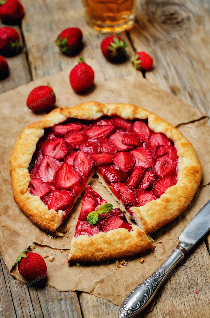 Strawberry galette with frash strawberries