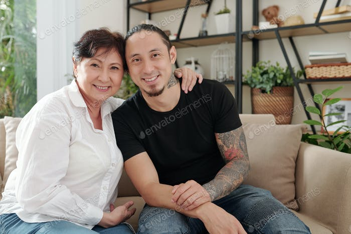 Mother with her elder son at home