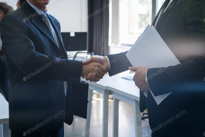 Two Unrecognizable Business Man Shake Hand Agreement Coworking Center Business Team Coworkers