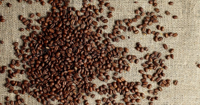 Heap of roasted coffee beans