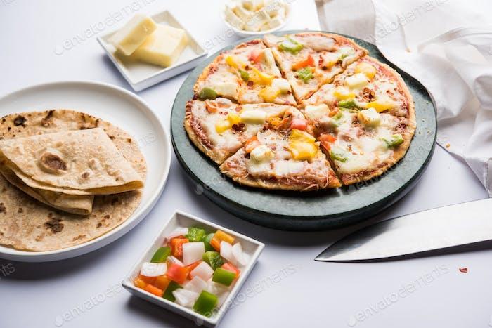 Chapati Pizza mit Resten Roti oder Paratha mit Käse
