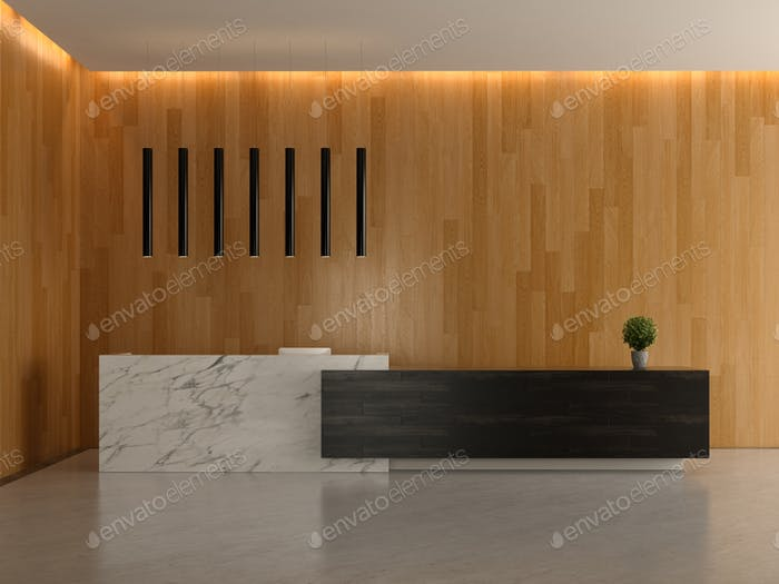 Interior of a lobby hotel reception 3D illustration