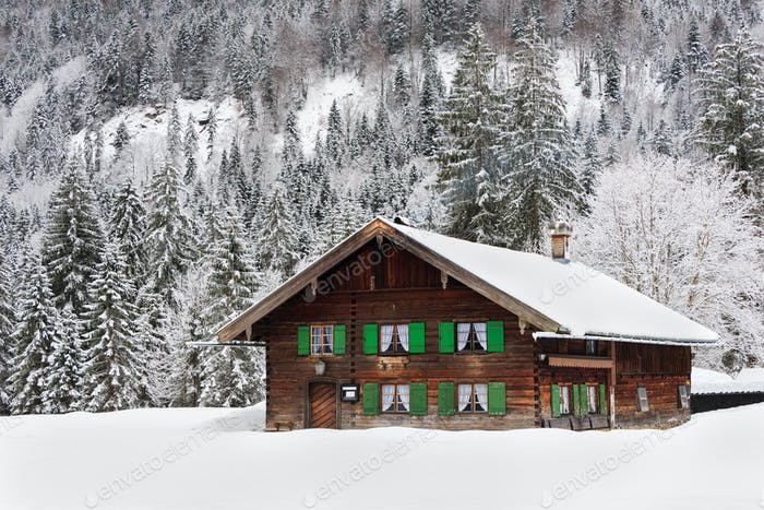 A traditional house in the snow in Bavaria, Germany