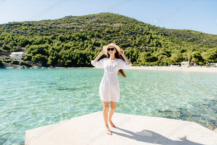 happy woman relax on beach summer vacations