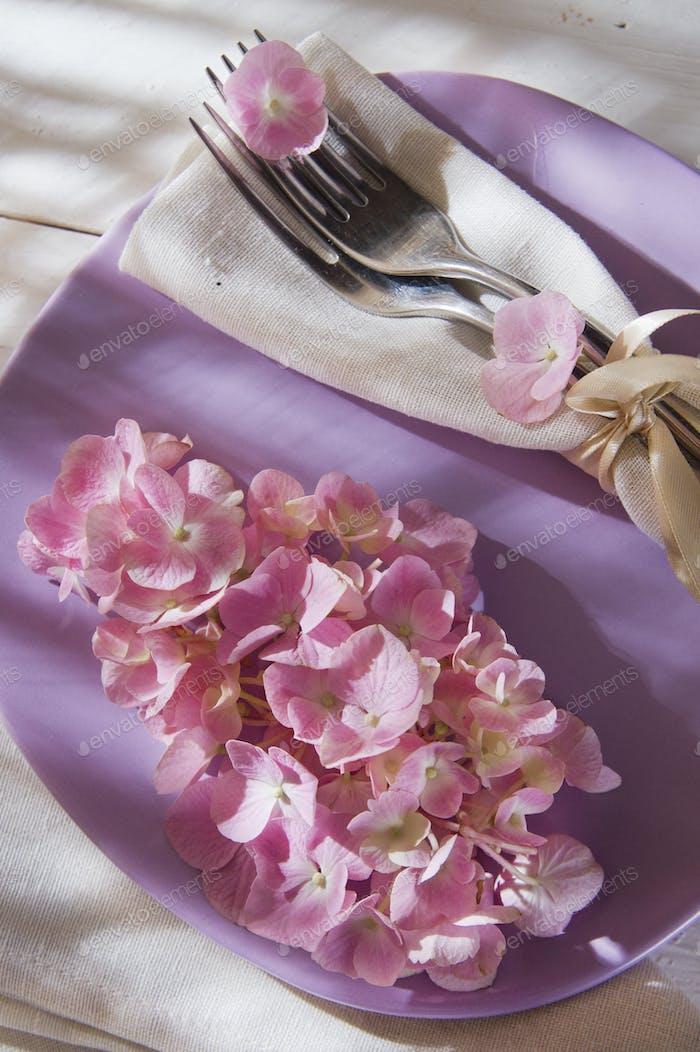 Hydrangeas in the table