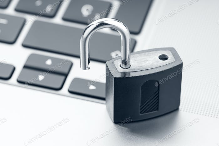 Open padlock on modern laptop