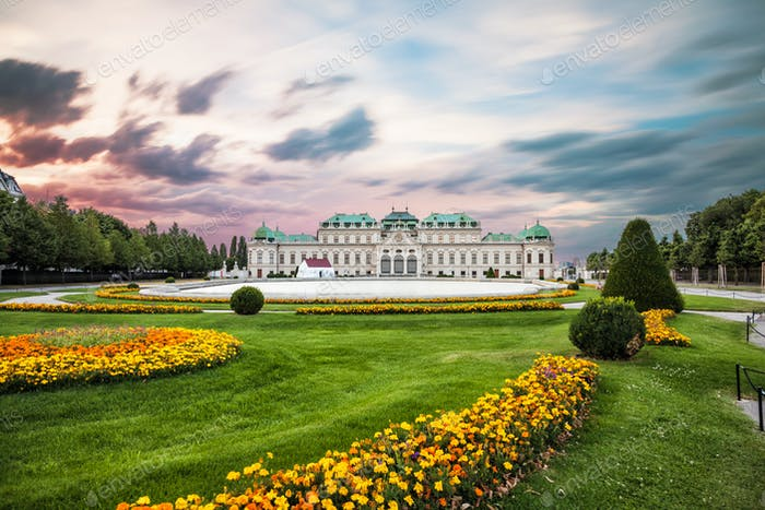Belvedere palace at sunset in Vienna, Austria