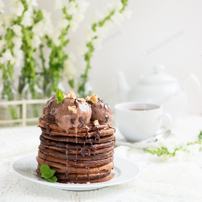 Stack of Homemade Chocolate Pancakes with Chocolate Ice-Cream
