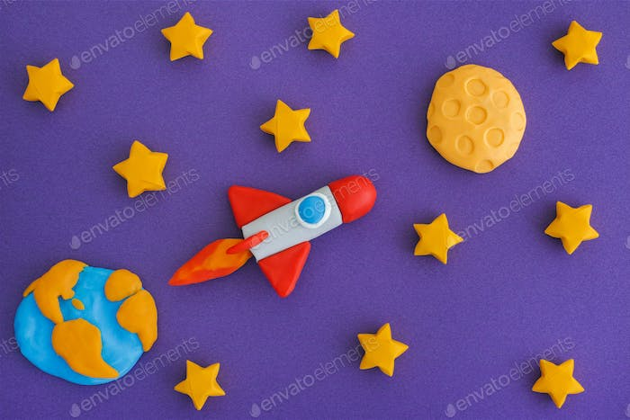 Space Rocket Flying To The Moon Through The Starry Sky