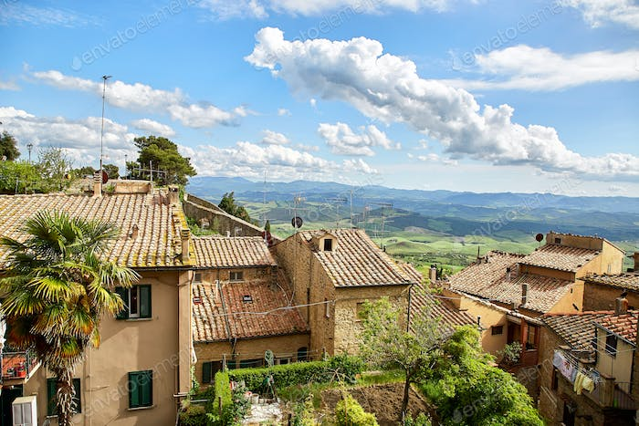 panoramic view of historic city Volterra, Italy