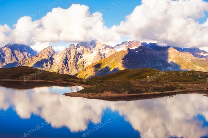 Scenic view of mountains and lake reflection, Svaneti national park