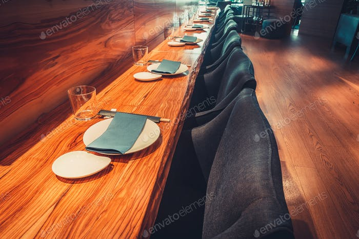 restaurant with table and tableware