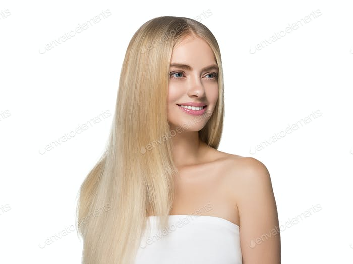 Thumbnail for Blonde hair woman natural skin female beauty healthy teeth smile