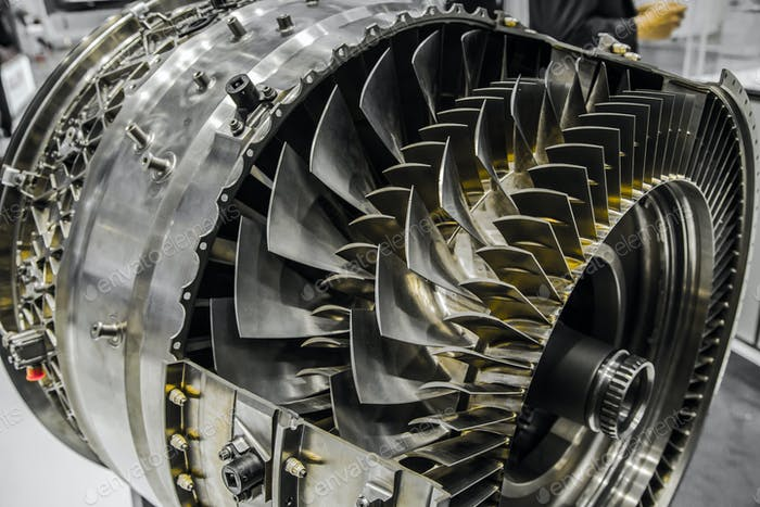 Jet Engine, Turbine blades of airplane