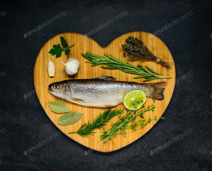Raw Fish on Heart Shaped Board