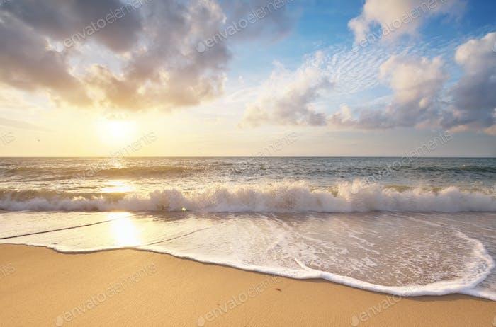 Sandige Küste bei Sonnenuntergang.