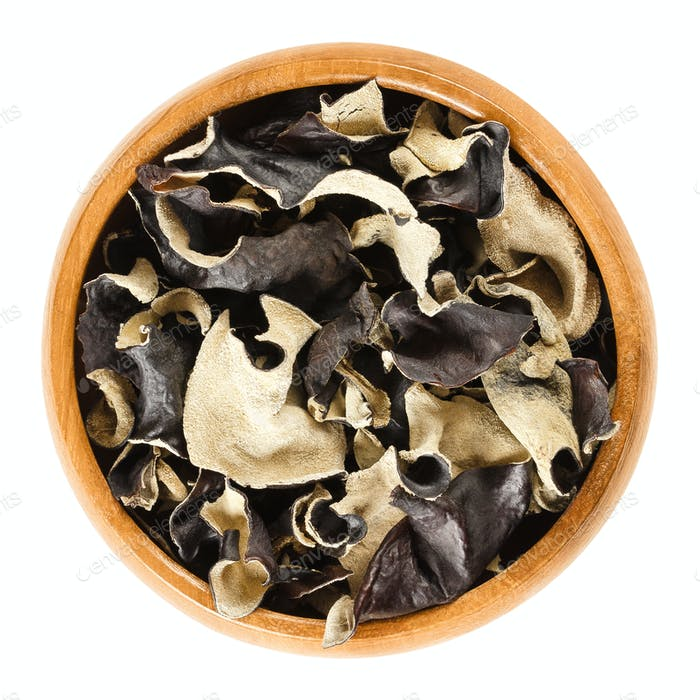 Dried black fungus Jew's ear in wooden bowl