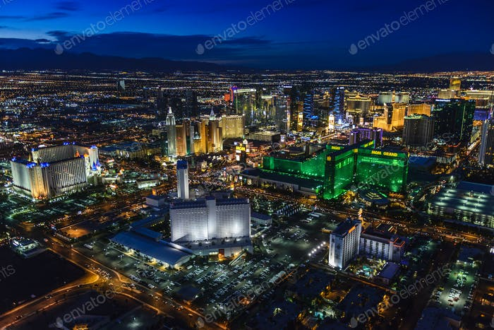 54955,Aerial view of Las Vegas cityscape lit up at night, Las Vegas, Nevada, United States