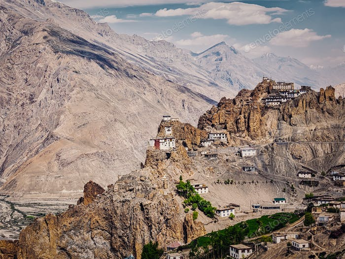 Dhankar gompa Buddhist monastery in Himalayas