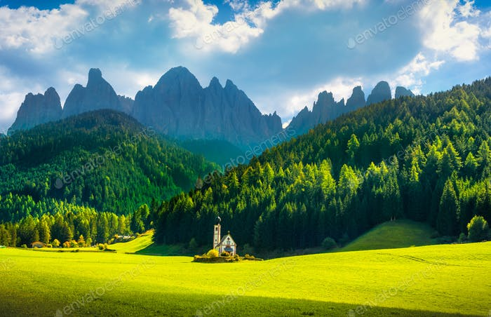 San Giovanni or St Johann in Ranui chapel, Funes Valley, Dolomit