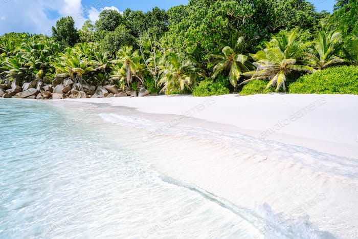 Gentle waves at Anse Cocos tropical beach on la digue island, Seychelles. Exotic holiday vacation