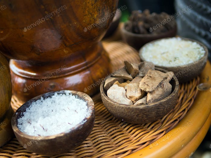 Traditional Indonesian spices used in Jamu spa treatments.