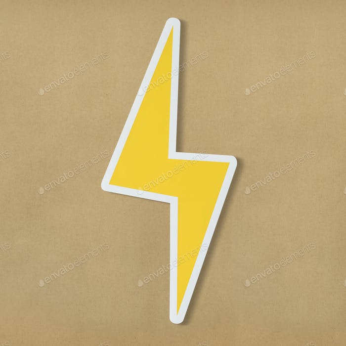 Yellow electric lightning bolt icon