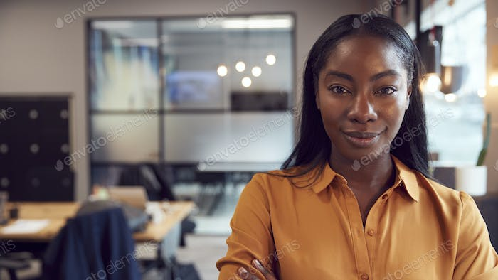Head And Shoulders Portrait Of Smiling Young Businesswoman  Working In Modern Office
