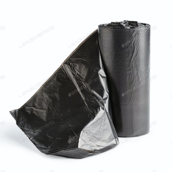 plastic garbage bags on white background