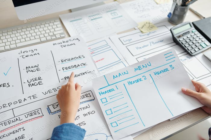 Diseñador UX crear diseño de sitio web