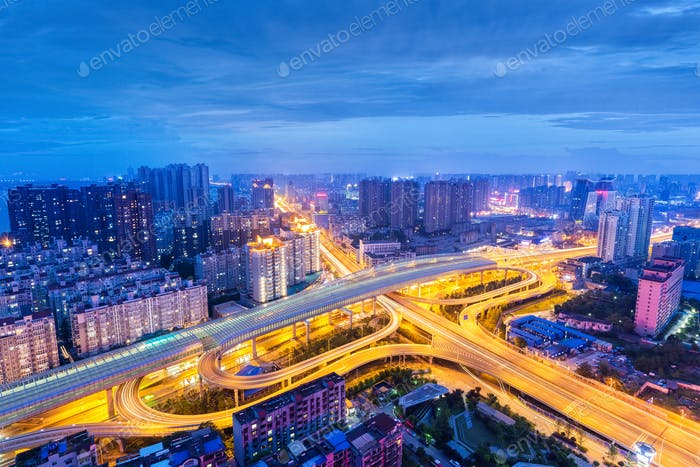 wuhan city interchange at night