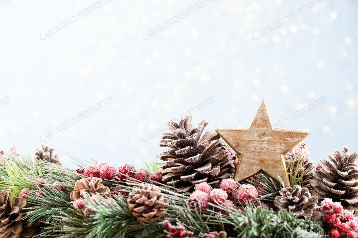Christmas Decoration Banner - Snowy Pine Cones On Fir Branch With Christmas Lights.