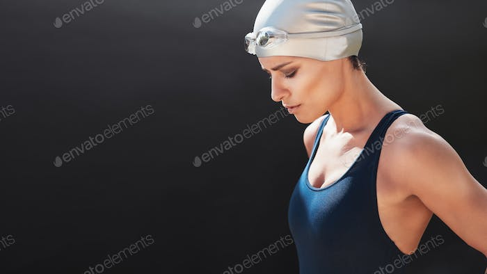 Swimmer preparing for a swim
