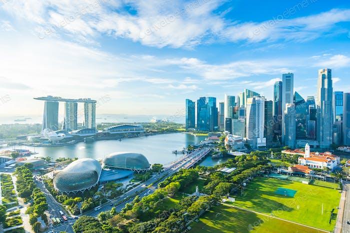 Schönes Architekturgebäude außen Stadtbild in Singapur
