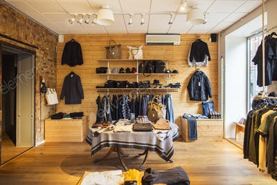 Interior of clothing store