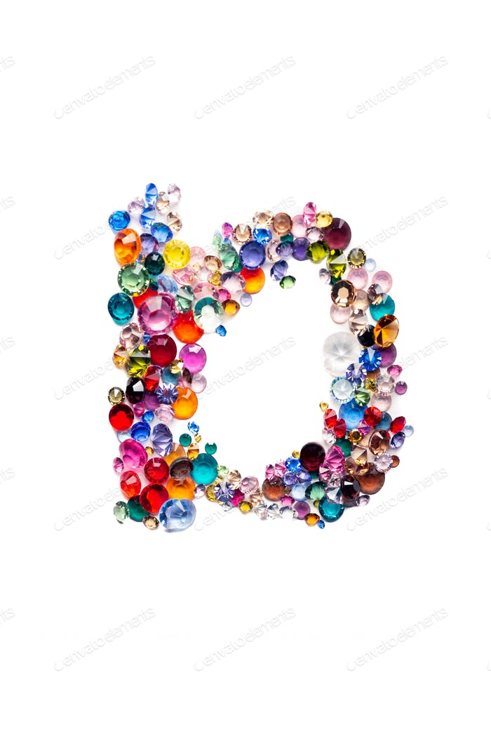 Letter D from glass bright gems