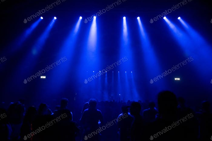 Stage lights and silhouette of crowd at concert