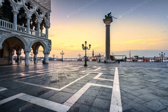 Venice landmark at dawn, Piazza San Marco, Doge Palace and San G