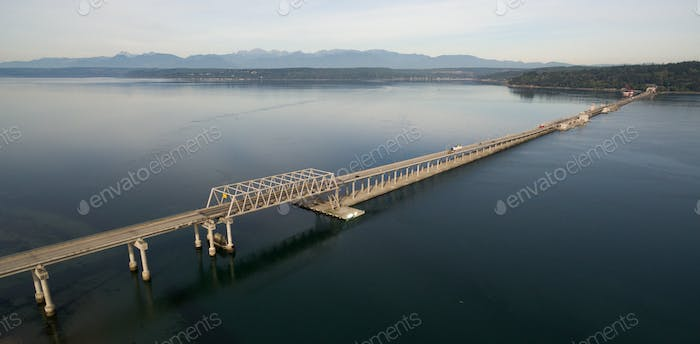 Aerial View Puget Sound Hood Canal Floating Bridge Crossing Olympic Mountains Background