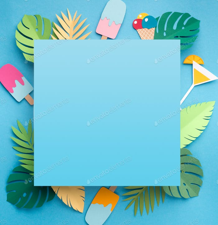 Creative wallpaper of blue squere with blank space