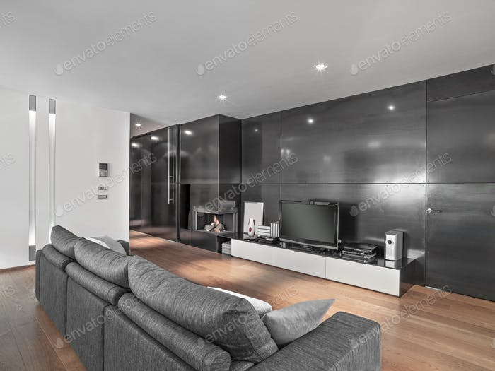Interiors of a Modern Living Room with Fireplace and Wood Floor