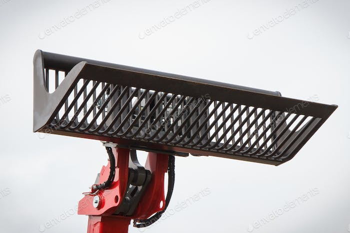 Shovel of excavator or bulldozer. Part of hydraulic mechanism using in industrial machine
