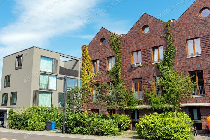 Modern houses made of bricks and concrete