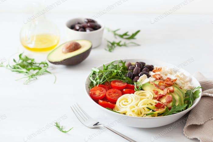 ketogene Lunchschale: Spiralisierter Zucchini mit Avocado, Tomaten,