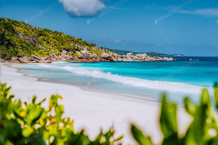 Petite Anse - sandy tropical paradise beach on La Digue in Seychelles. Travel exclusive concept