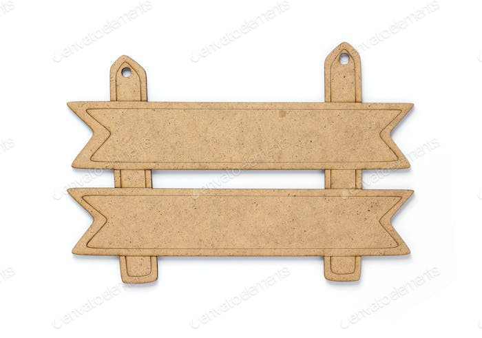 wooden sign board at white background