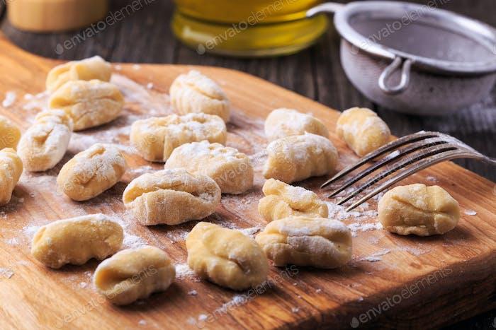 Uncooked homemade potato gnocchi.