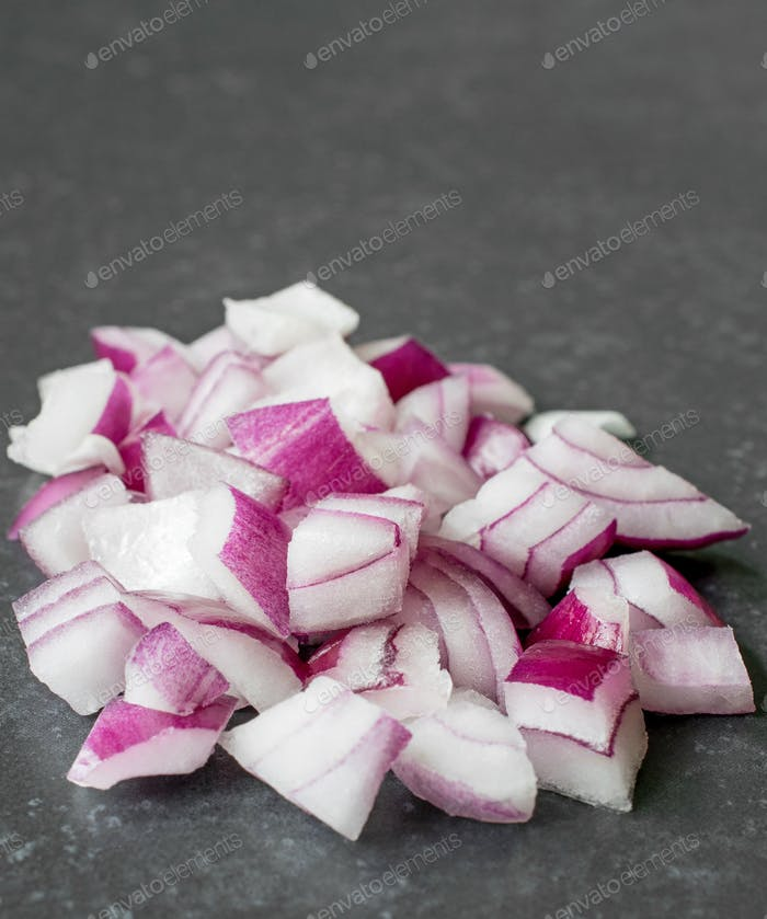 A Small Pile of Chopped Red Onions